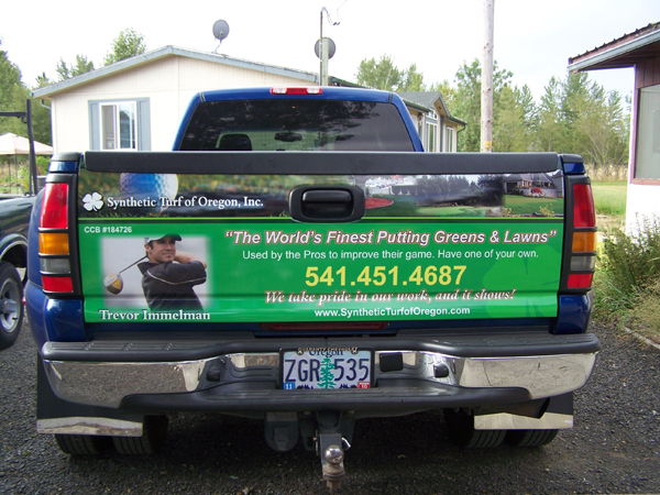 Tailgate wrap for Synthetic Turf of Oregon